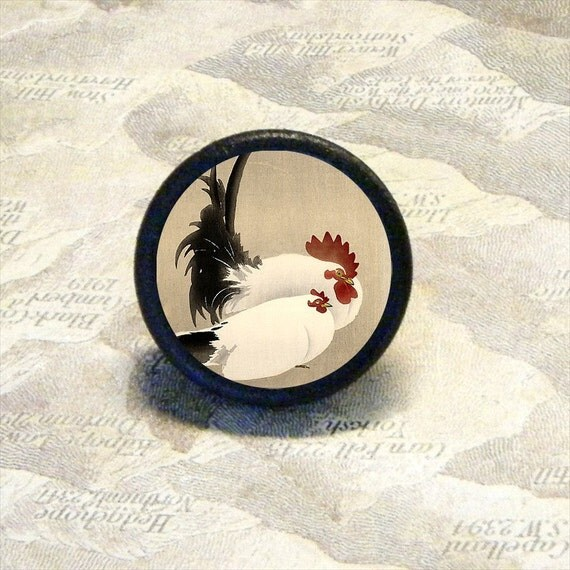 ROOSTER and HEN Tie tack or ring