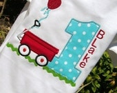 Boys Appliqued Red Wagon with Age Tee