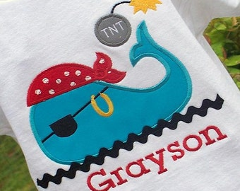 Personalized Boys Appliqued Pirate Themed Whale