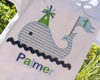 Boys Personalized Appliqued Birthday Whale