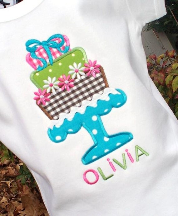 Girls Personalized Birthday Cake Appliqued T Shirt