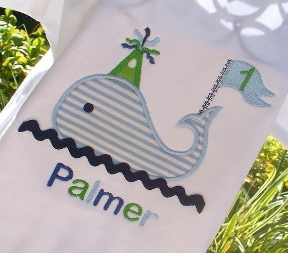 Items similar to Boys Personalized Appliqued Birthday Whale on Etsy