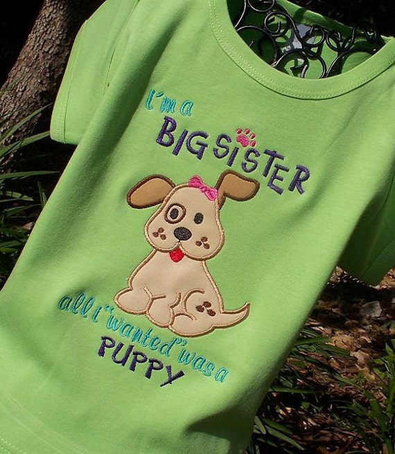 Girls Personalized Appliqued Puppy Big Sis T Shirt on Lime