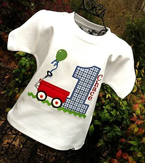 Boys Appliqued Red Wagon with Age in Gingham Check