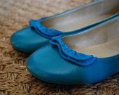 RESERVED for alietan teal zipper ruffle ballet flats (size 8.5)