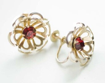 1950s Gold and Red Rhinestone Flower Earrings