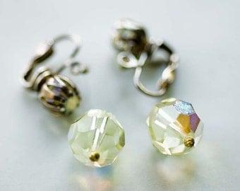 1950s Light Green Crystal Beaded Dangly Clip on Earrings