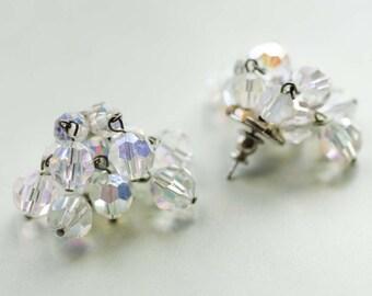 1950s Crystal Dangle Cluster Earrings