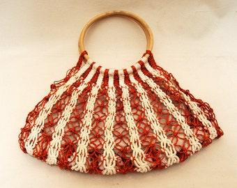1970s Orange/White Macrame Rope Wooden Handbag