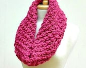 Large Raspberry Knitted Cowl--An Easy Original Design