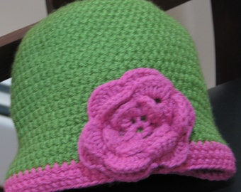 Little Girl's Beanie in Apple Green and Pink