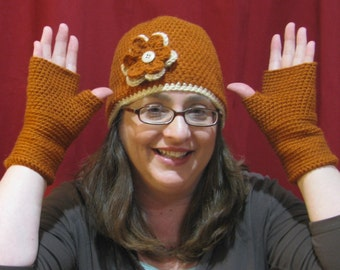 Rust and Beige Beanie and Finergless Glove Set