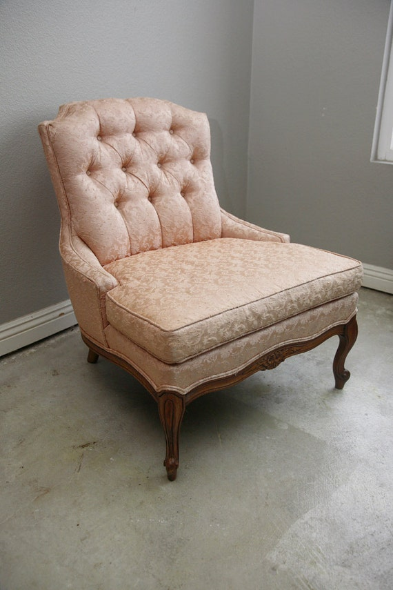 Vintage Slipper Chair Pink Tufted Late 40s Early 50s