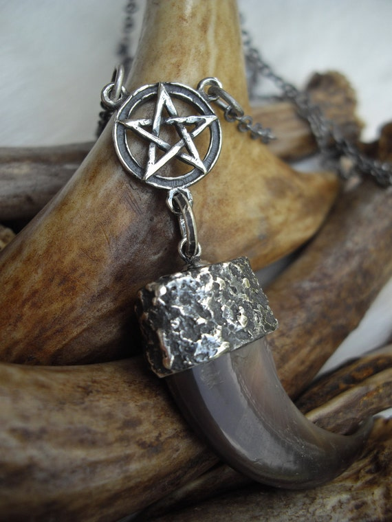 RESERVED: genuine bear claw set in a silver cap and sterling silver pentacle necklace