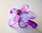 Purple flower hair clip, beaded barrette for woman or girl