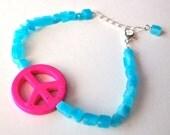 Peace sign bracelet, aqua blue quartz hot pink magnesite peace sign adjustible gemstone bracelet with silver chain, summer of love jewelry