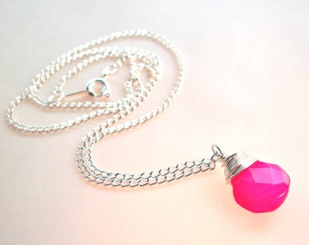 Pink briolette necklace, hot pink gemstone necklace, bright pink chalcedony wire-wrapped on silver chain, simple gemstone pendant necklace