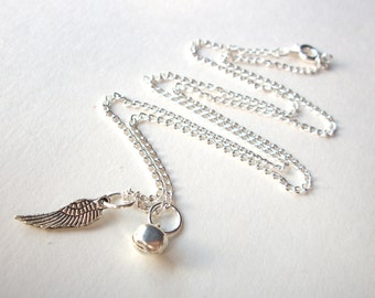 Miscarriage necklace, silver angel wing and tinkling bell charms on silverplated chain infant loss remembrance