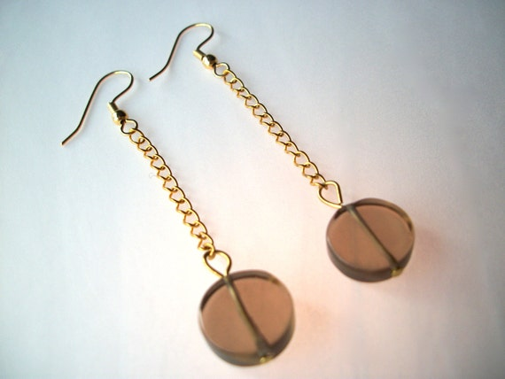 SALE 60% OFF Mod earrings, gemstone earrings gold chain genuine smoky quartz discs