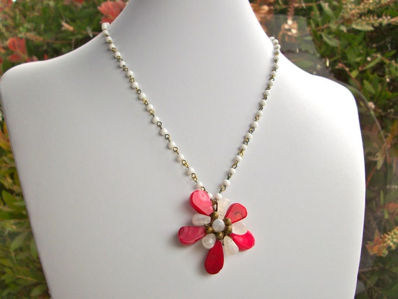 Red Coral flower necklace wire wrapped moonstone gemstone flower pendant necklace with white vintage beaded antique brass chain