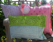 Retro Chic Bandana Pillow Covers - 18x18 square, College Dorm Pillow, Girl Bedroom Decor, Retro Pillow Cover Bandana