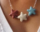Lava Rock Americana Starfish Necklace Set