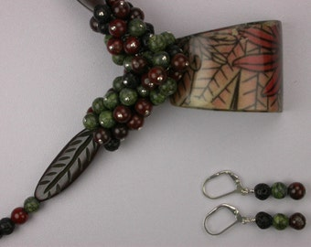 Hand Painted Wood Necklace Set