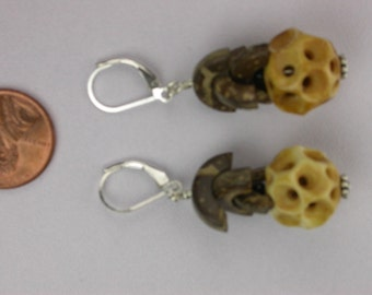 Carved Bone Honeycomb Earrings