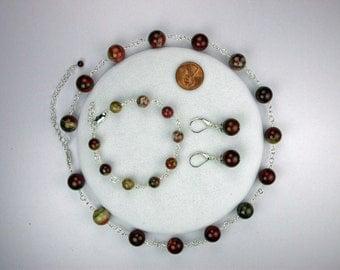 Apple Jasper Necklace Set