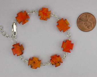 Orange Turquoise Cross Bracelet