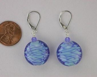 Blue Lampworked Glass Earrings