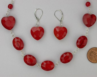 Vivid Red Heart Necklace Set