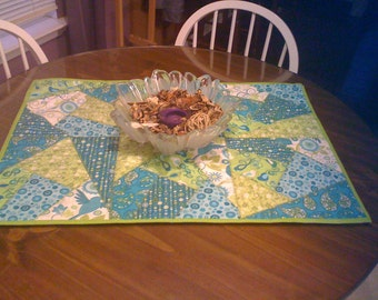 Green Crazy Quilted Table Topper