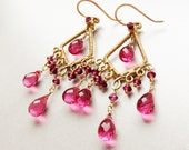 14 karat gold filled chandelier earrings with Rhodolite Garnet and pink Quartz gemstones