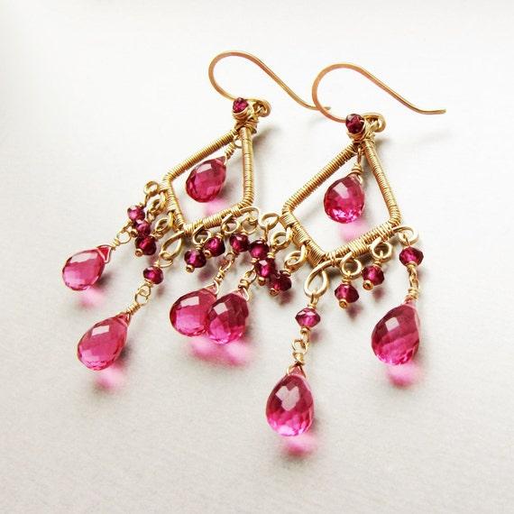 14 karat gold filled chandelier earrings with Rhodolite Garnet and pink Quartz gemstones