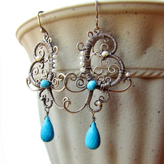 CUSTOM LISTING for H, Filigree Sterling silver and Turquoise earrings and .999 Fine silver earrings