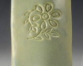 Mezuzah Cover - stoneware with warm jade green glaze