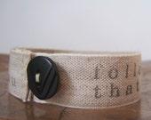 HARRIS bracelet - linen, hand stamped, button closure, handmade jewelry