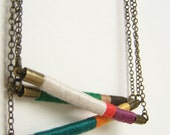 DESIGN YOUR OWN custom Davis necklace - textile and leather with antiqued brass chain