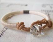 Last One - COOPER bracelet - leather wrap, vintage button closure (powder pewter ecru champagne), handmade jewelry