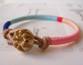 Reserved - Cooper bracelet - leather wrap, vintage button closure (royal aqua poppy peach carnation), handmade jewelry
