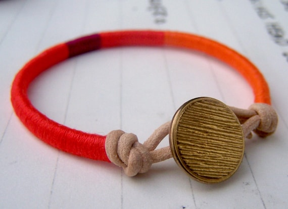 COOPER bracelet - textile and leather with metal button (persimmon wildberry kumquat)
