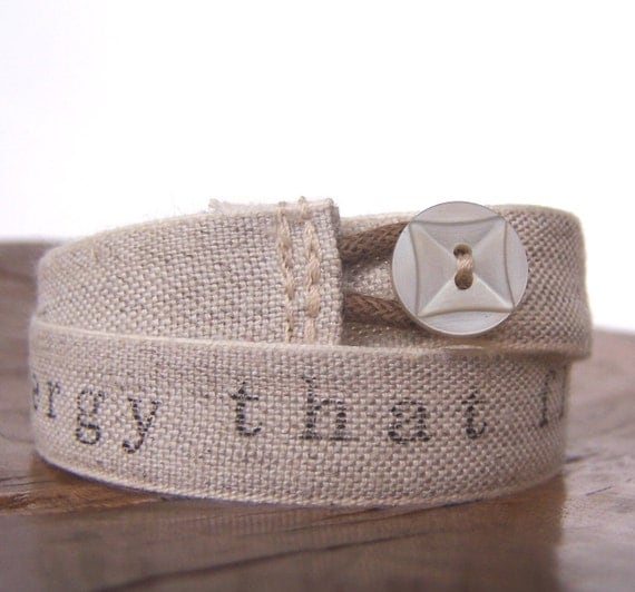 Reserved - HARRIS double wrap bracelet - linen, hand stamped, vintage button, handmade jewelry