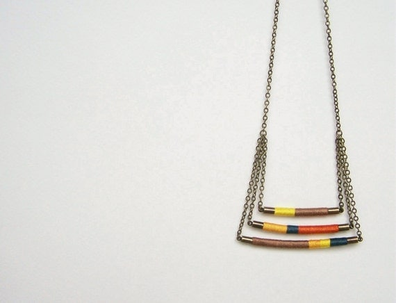 swing tier DAVIS necklace - textile and leather with antiqued brass chain (canary spruce mocha mango carrot)
