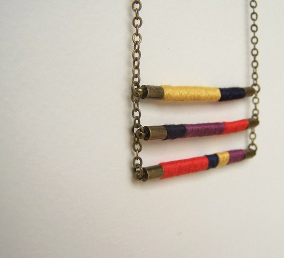 ladder tier DAVIS necklace - textile and leather with antiqued brass chain (plum persimmon goldenrod midnight)