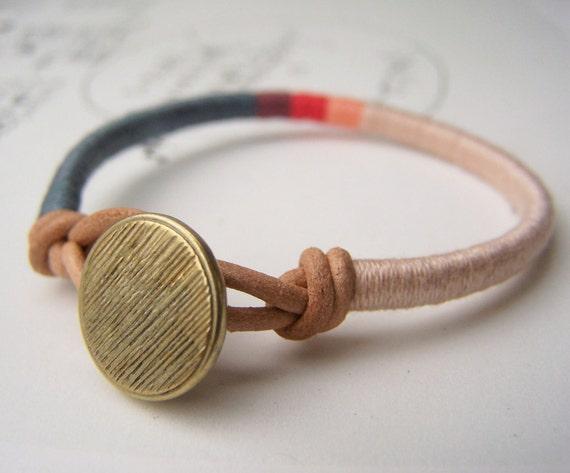 COOPER bracelet - textile, leather, button closure (slate mauve melon apricot ginger), handmade jewelry