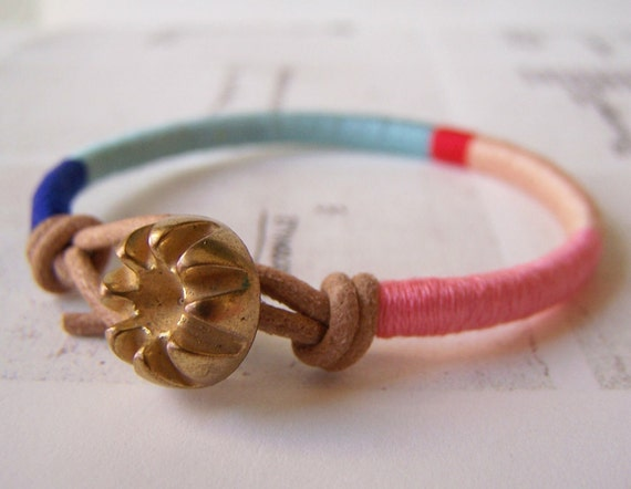 Reserved - Cooper bracelet - leather wrap, vintage button closure (royal aqua poppy peach carnation), handmade jewelry