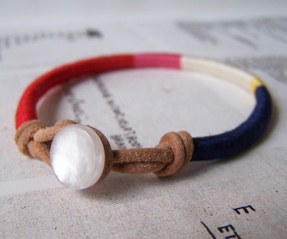 Cooper bracelet - leather wrap, vintage button closure (cranberry azalea ecru bumblebee navy ), handmade jewelry
