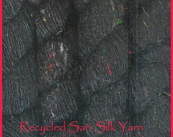 Handspun   Solid Colour , Recycled  SILK  YARN  fair trade - Black  2 skeins
