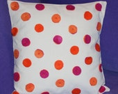 Polka Dot Pillow Cotton - 16 inch - Felt Polka Dots - Beaded - Hot Pink and Orange